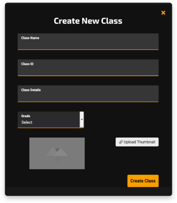 Create New Class Window
