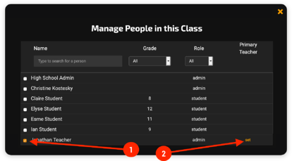 Manage Users in Class